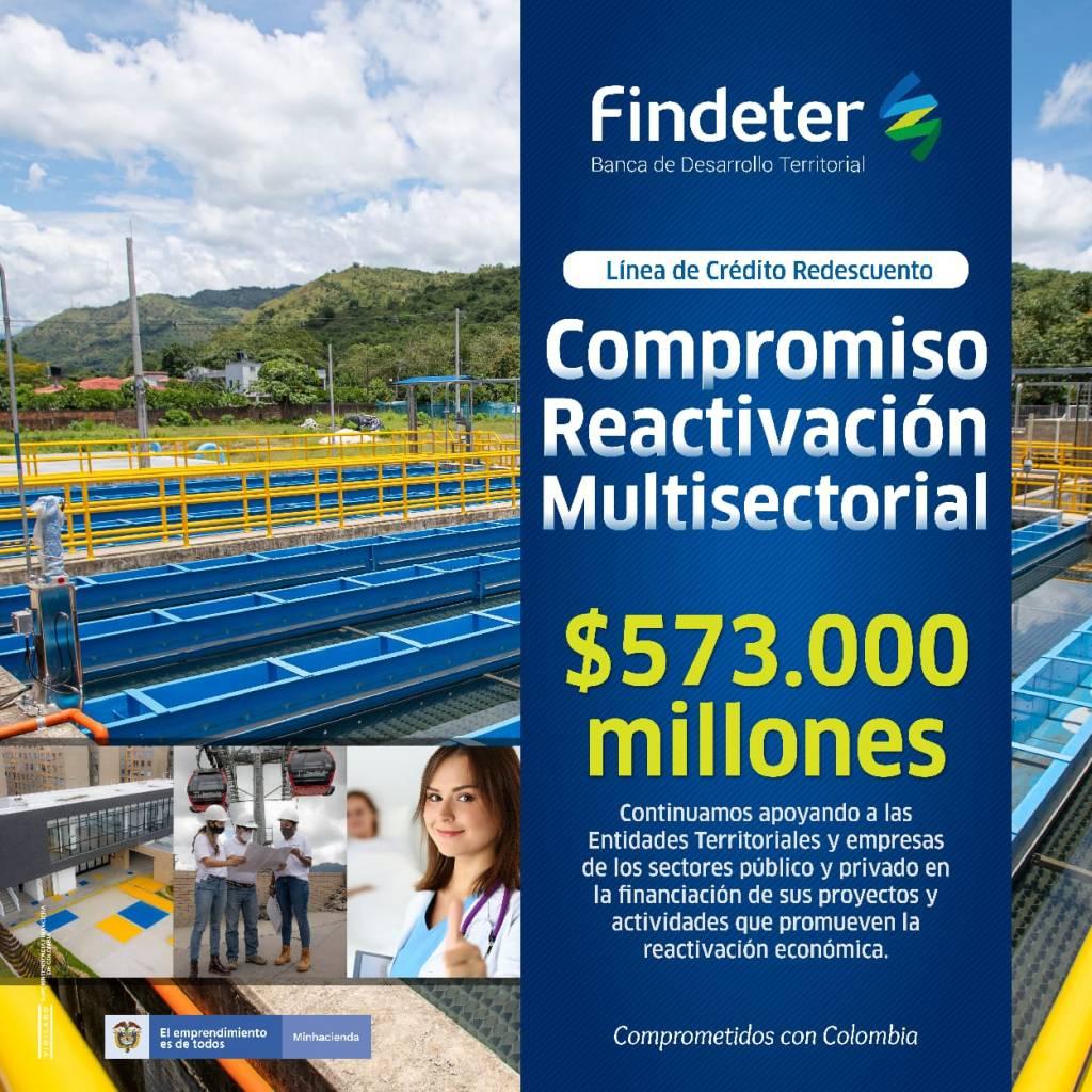 Findeter lanza línea de crédito Compromiso Reactivación Multisectorial por $573 mil millones para apoyar los sectores público y privado